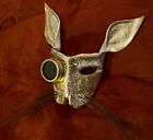 Leather art Steampunk bunny mask with goggle/lens & horse hair whiskers