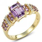 Cocktail Fashion Size 6,7,8,9,10 Amethyst 18K Gold Filled Wedding Ring For Woman