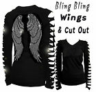 BLING BLING ANGEL WINGS RHINESTONE,RIPPED SLIT CUT OUT LONG SLEEVE T SHIRT S/M/L