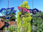 BUTTERFLY ~ GLASS, RESIN &  METAL ART MOBILE/WINDCHIME/SUNCATCHER - GARDEN/HOME