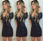 Women Sexy Sequin Lace Mini Short Party Cocktail Evening Dress Bodycon Club Wear