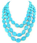 """Necklace Single 12mmx15mm Egg Turquoise Gemstone Beads Knotted 18"""" 24"""" 36"""" 48"""""""