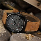 Military Army Vintage Men's Brown Leather Strap Analog Quartz Sport Wrist Watch