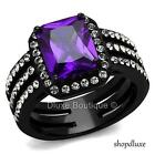 Women's Radiant Cut Amethyst AAA CZ Stainless Steel Engagement Ring Size 5-10