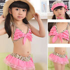 BeautifulToddler  Kid Swimsuit Skirt Girls Swimwear Leopard Bikini Hat cute 3PCs