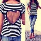 Women Backless Summer Striped Casual Lace Shirts Chiffon Blouses T Shirt Tops EN