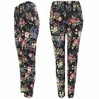NEW LADIES BLACK FLORAL PRINT STRETCH TROUSERS WOMEN CELEB LOOK LONG CREPE PANTS
