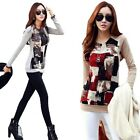 Women Long Sleeve Shirt Blouse Tops Clothing Crewneck Ink Printed Cotton T-Shirt