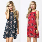 Women Lady Backless Flower Print Loose Chiffon Tops Mini Dress Summer Clothes