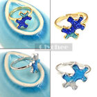Women Fashion Blue Starry Sky Ring Gold Silver Size 5.5 Adjustable Finger Ring