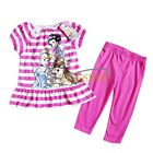 New 2pcs Baby Girls Cartoon T-shirt Dress + Pants Set Kid Summer Clothes Outfits