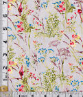 PATCHWORK/CRAFT FABRIC WILD FLOWERS ON GREY  BY INPRINT@MAKOWER 100% COTTON