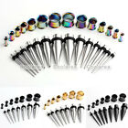 14 Pair Steel Stretcher Tapers + Double Flared Ear Plugs Tunnels Body Piercing