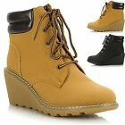 New Ladies Womens Lace Up Cleated Sole Wedge Heel Ankle Worker Style Boots Shoes