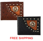 (B43-2)Studded Lone Star Concho Men's Wallet-4289