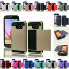 Colorful Hard Armor Case Cover Skin Slide Card Slot Holder For Samsung Galaxy