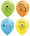 Pack of 4 CUDDLY PETS (Choice Pet) 27.9cm Party Balloons - Qualatex (Helium/Air)