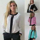 Fashion Women Loose Casual Bow Crew Neck Long Sleeve Chiffon Shirt Blouse Tops
