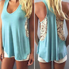 Fashion Women Summer Vest Sleeveless Blouse Casual Tank Tops Lace T-Shirt
