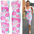 Women Summer Sexy Colorful Slim Fit Pencil Bodycon Party Evening Midi Vest Dress