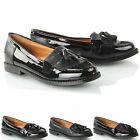 Girls kids slip on fringe tassel black formal school padded loafers pumps shoes