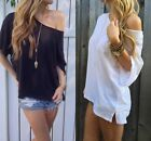 Women Cotton OFF-Shoulder Long Sleeve Casual Lady T-Shirt Loose Tops Blouse NICE