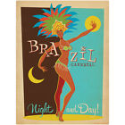 Brazil Carnaval Night And Day Wall Decal World Travel Vintage Style