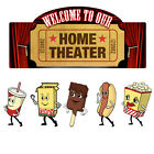 Home Theater Welcome Snacks Wall Decal Set Removable Home Theater Decor
