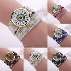 Women Vintage Feather Analog Watch Dial Leather Band Quartz Unique Wrist Watches