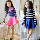 Fashion Kids Girl Long Sleeve Stripe Bow Casual Party Short Pleated Mini Dress