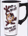 TAZ TASMANIAN DEVIL Large Ceramic TRAVEL Coffee MUG Cup Looney Tunes Warner Bros