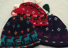Brand New Deer Tassel Beanie Navy Red Purple