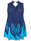 eaonplus Sleeveless NEHRU Embroidered BATIK Tunic Top NAVY / TURQ 16 18 20 22