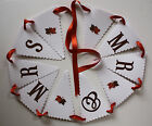 Handmade AUTUMN LEAVES wedding : BUNTING ; 3 designs ;60 colours, personalised