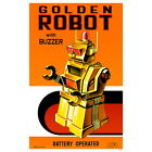 Golden Robot Tin Toy Wall Decal Sci-Fi Vintage Style Geek Decor