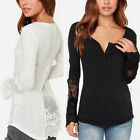 UK Size 8-26 Women Embroidery Lace Top Button V Neck Long Tee Shirt Blouse Dress