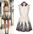 Sexy Women's Sleeveless Floral Casual Summer Cocktail Party Short Chiffon Dress