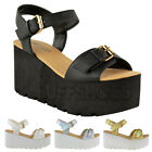 WOMENS LADIES CHUNKY SOLE FLATFORM SUMMER SANDALS WEDGES PLATFORM SHOES SIZE