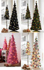 6FT Decorated Pop Up Christmas Tree White LED Lights Green pink black white