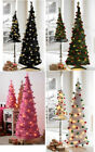 6ft Decorated Pop Up Spiral Christmas Tree LED Lights GREEN PINK BLACK WHITE