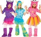 Girls Purple Pink Blue Halloween Monster Fancy Dress Costume Outfit 3-12 years