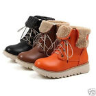 Womens Ladies Winter Cuffed Faux Fur Lined Lace Up Ankle Boots Shoes