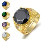 Women Mens Size 7,8,9,10 Amethyst Emerald Luxury 18K Gold Filled Wedding Rings