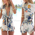 Womens Floral Print Mini Playsuit Ladies Jumpsuit Summer Shorts Beach Dress New