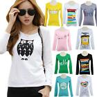 2015 Chic Women Cartoon Print T-Shirt Long Sleeve Casual Pullover Tops Blouse