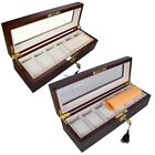 6 Slot Watch Wood Organizer Display Case Glass Top Jewelry Box Valentines Gift