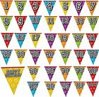 8m Birthday Bunting Celebration Party Banners 16 Flags Multi Coloured All Ages