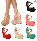 NEW WOMENS LADIES HIGH HEEL PLATFORM STRAPPY WEDGES PEEP TOE SANDALS SHOES SIZE