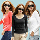 Women Ladies Long Sleeve Cotton T-shirt Fashion Blouse Casual Basic Soft Simple