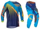 NEW 2016 FLY RACING KINETIC TRIFECTA MX GEAR COMBO BLUE/ORANGE/YELLOW ALL SIZES